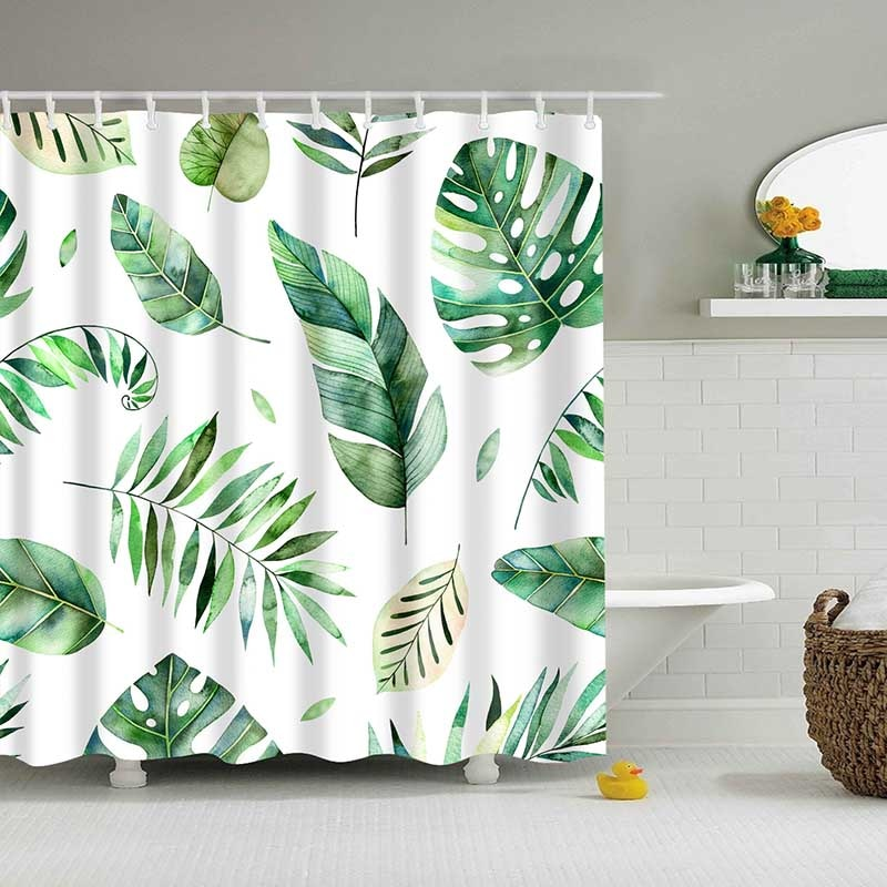 Tropical Plants Pattern Shower Curtain
