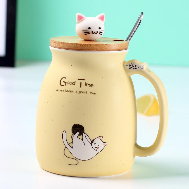 Cartoon Cat Coffee Mug with Lid