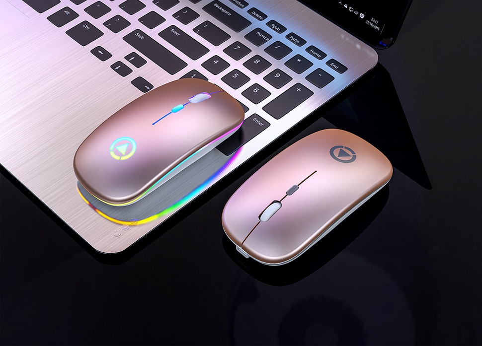 Rechargeable Wireless Mouse with Breathing Backlight